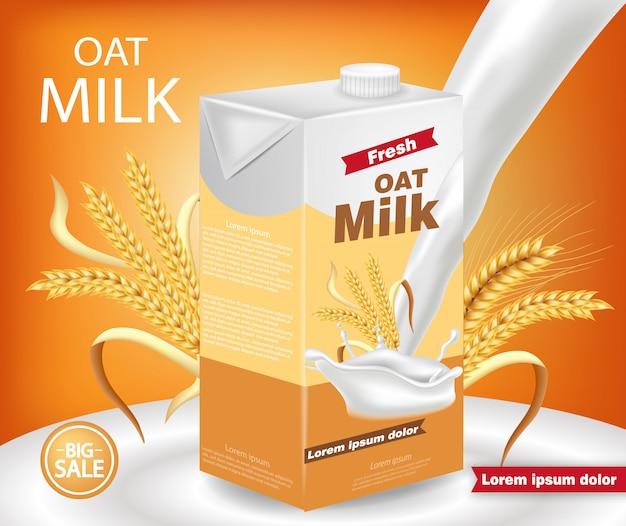 Maquete de pacote de leite de aveia Vetor Premium