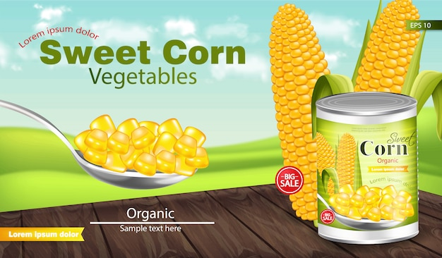 Maquete de pacote de milho doce Vetor Premium