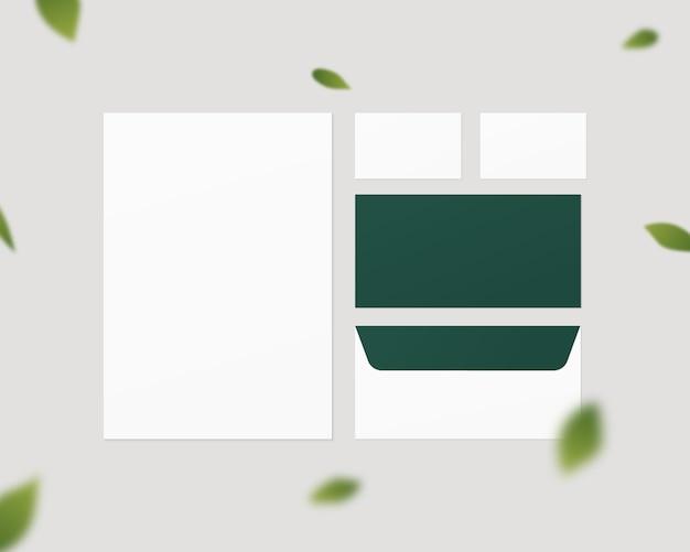 Maquete de papelaria de negócios. conjunto de modelo de identidade corporativa. papel, envelope, cartões de visita. isolado. modelo de design. ilustração realista. Vetor Premium