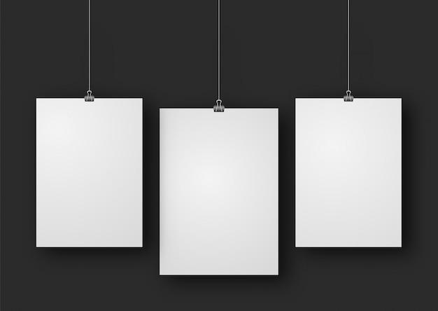 Maquete de pôster de papel Vetor Premium