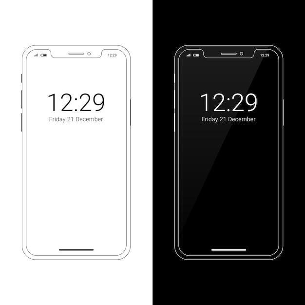 Maquete de smartphone moderno wireframe com entalhe display Vetor Premium