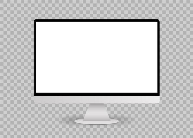 Maquete de tela de computador branco em branco Vetor Premium