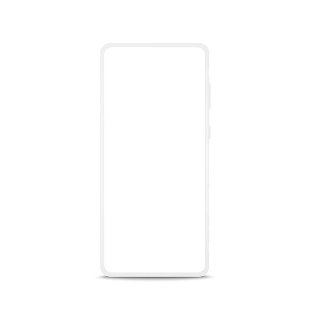 Maquete de telefone móvel sem moldura moderna isolada no branco Vetor Premium