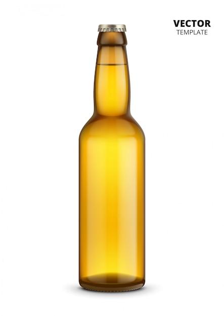 Maquete de vidro de garrafa de cerveja isolada Vetor Premium