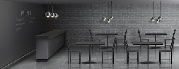Maquete do interior do café com balcão de bar vazio, mesas e cadeiras de jantar, lâmpadas do teto Vetor grátis