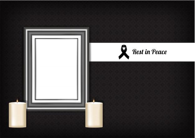 Maquete luto símbolo com fita respeito preto, quadro e vela. descanse em paz cartão funeral ilustração vetorial. Vetor Premium