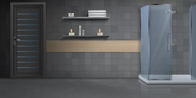 Maquete realista de design de interiores moderna casa de banho Vetor grátis