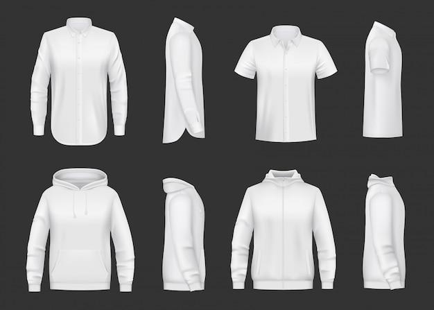 Maquete realista de moletom, capuz e camisa Vetor Premium