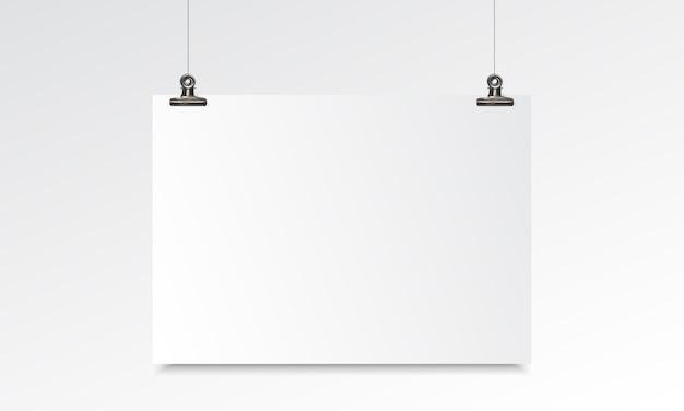 Maquete realista de papel em branco com suspensão e clip de fichário Vetor Premium