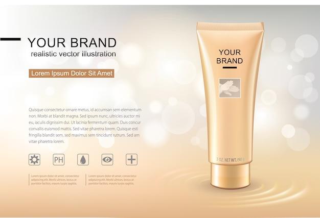 Maquete realista de recipientes cosméticos. Vetor Premium