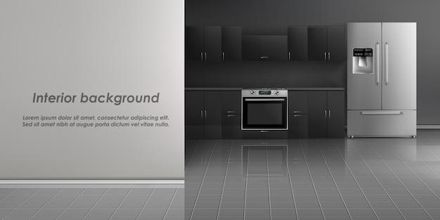 Maquete realista do interior de sala de cozinha com eletrodomésticos, geladeira Vetor grátis