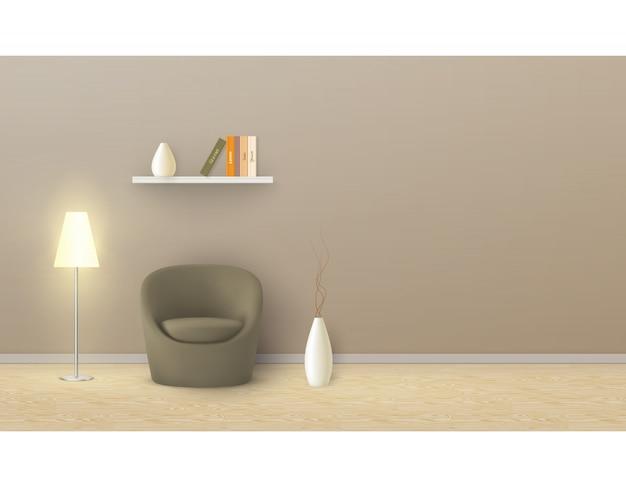 Maquete realista do quarto vazio com parede bege, poltrona macia, lâmpada de assoalho, prateleira com livros. Vetor grátis