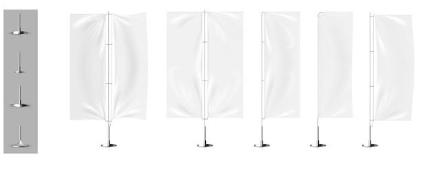 Maquetes realistas da bandeira da bandeira tridimensional Vetor Premium