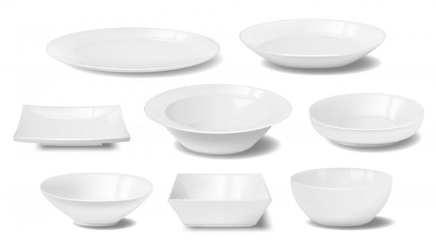 Maquetes realistas de prato branco, prato e comida tigela Vetor Premium