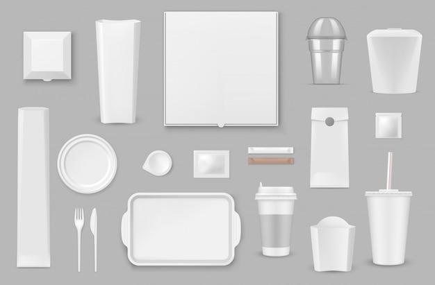Maquetes realistas de utensílios de mesa descartáveis Vetor Premium