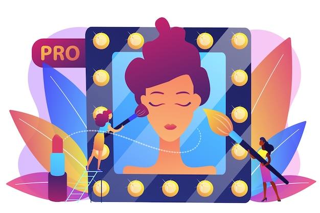 Maquiadores profissionais aplicando maquiagem com pincel no rosto da mulher no espelho. maquiagem profissional, arte profissional, conceito de trabalho de maquiador. Vetor grátis