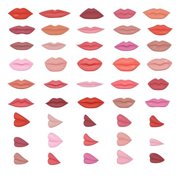 Maquiagem de lábios lindos lábios vermelhos no sorriso de beijo ou moda meninas batom e boca sexy beijando adorável no dia dos namorados conjunto ilustração isolado no fundo branco Vetor Premium