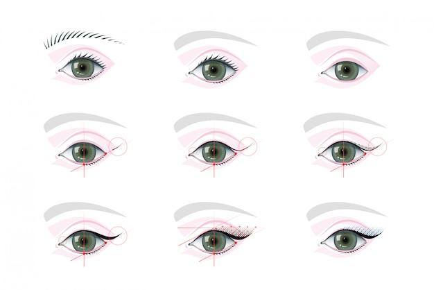 Maquiagem dos olhos e conjunto de ilustrações tutoriais de tatuagem permanente Vetor Premium