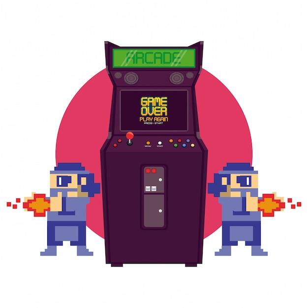 Máquina de arcade retro videogame Vetor Premium