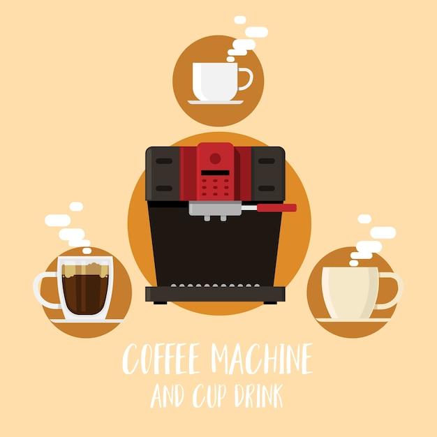 Máquina de café e xícara de café estilo flat Vetor Premium