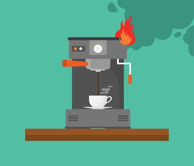 Máquina de café quebrada com fumaça e fogo vector Vetor Premium