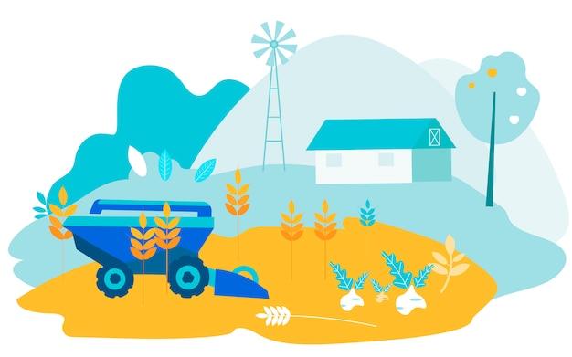 Máquina de colheita no fundo da exploração agrícola. vetor. Vetor Premium