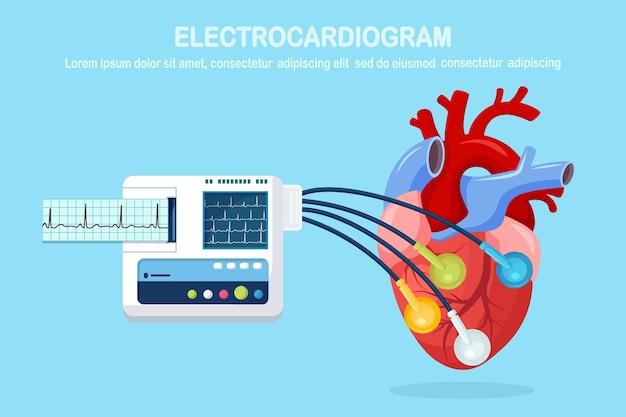 Máquina de ecg isolada no fundo. monitor de eletrocardiograma para diagnóstico de coração humano com gráfico de ekg. equipamento médico para hospital com gráfico de ritmo de batimento cardíaco. design plano Vetor Premium