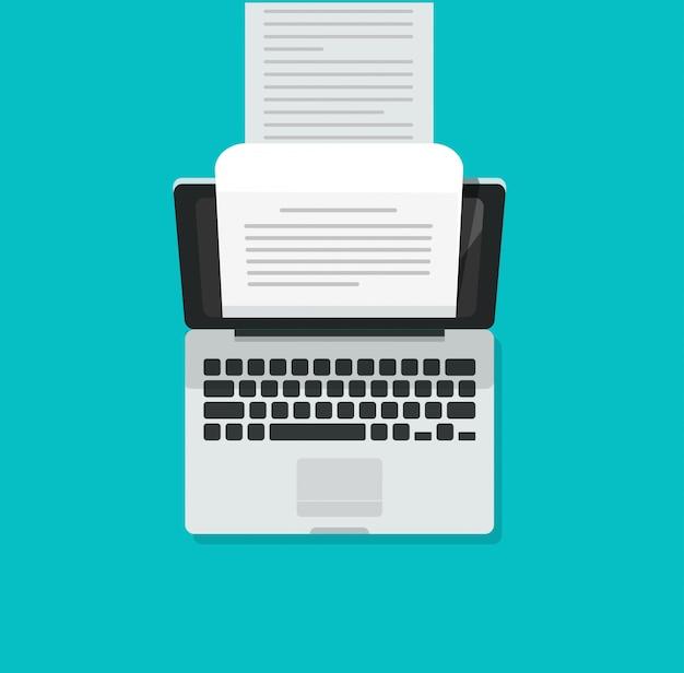 Máquina de escrever de computador portátil com documento de texto com conteúdo escrito longo Vetor Premium