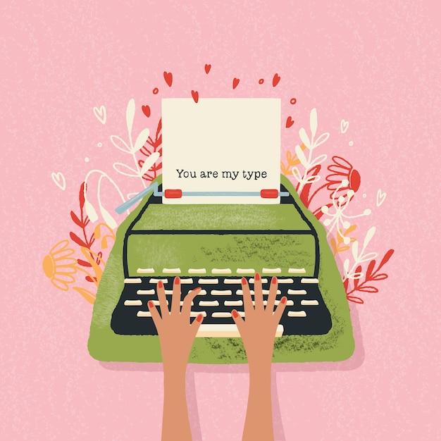 Máquina de escrever e nota de amor com letras de mão. mão colorida ilustrações desenhadas para feliz dia dos namorados. cartão com flores e elementos decorativos. Vetor Premium