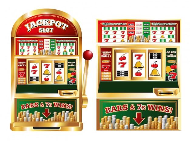 Máquina de jackpot de slot de pôquer isolada frente imagens conjunto Vetor grátis