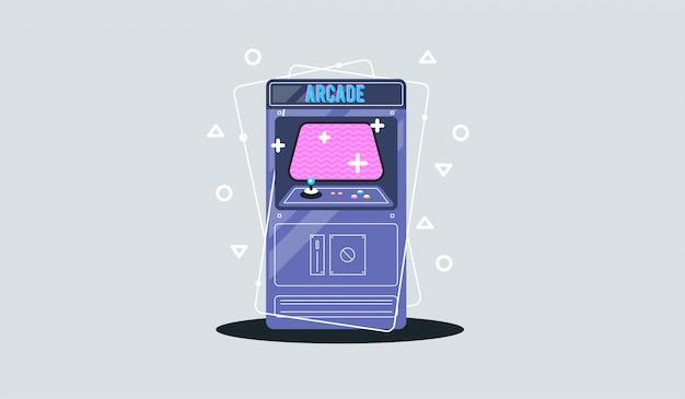 Máquina de jogo de arcade retrô. Vetor Premium