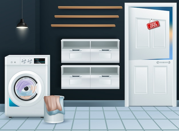 Máquina de lavar moderna realista na lavanderia vazia Vetor Premium