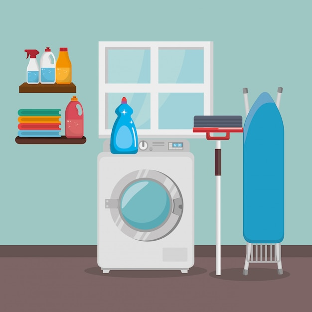 Máquina de lavar roupa com serviço de lavanderia Vetor grátis