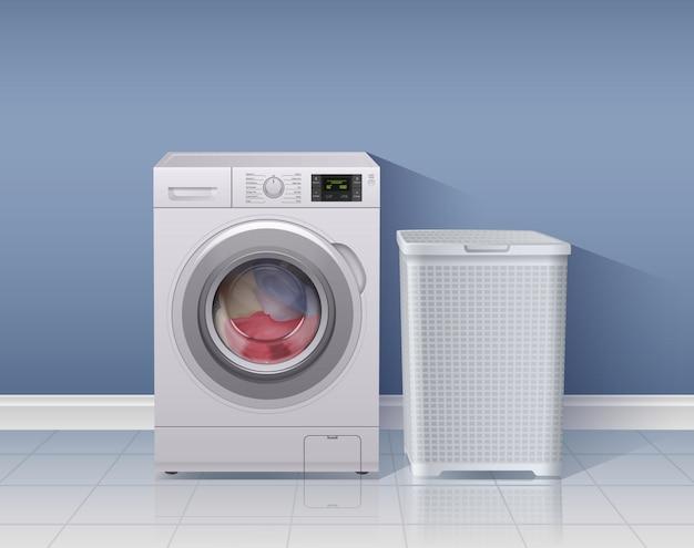 Máquina de lavar roupa fundo realista com ilustração de símbolos de equipamento de lavanderia Vetor grátis