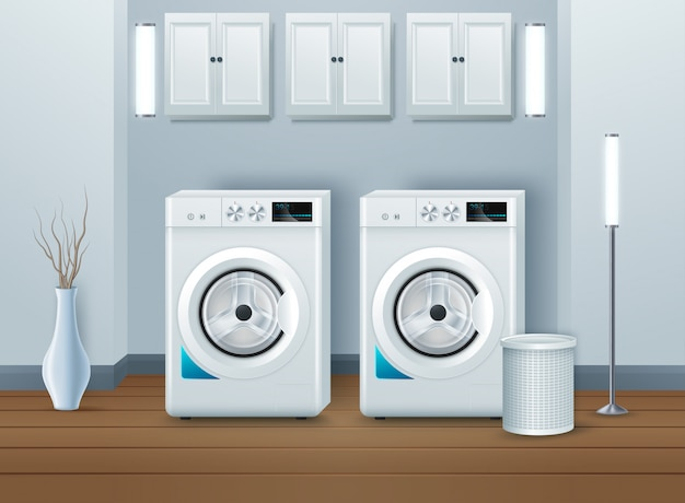 Máquina de lavar roupa na lavandaria moderna Vetor Premium