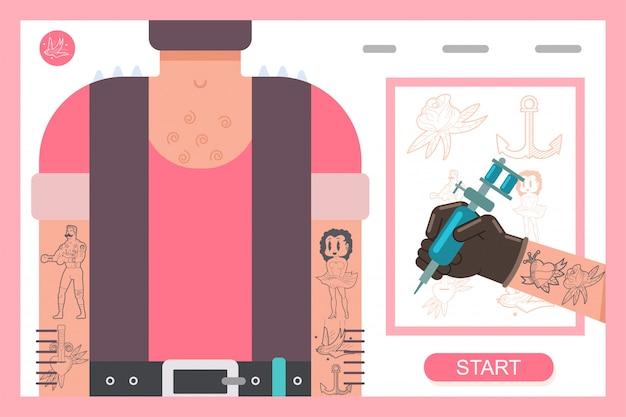 Máquina de tatuagem na mão. ilustração em vetor plana conceito. Vetor Premium