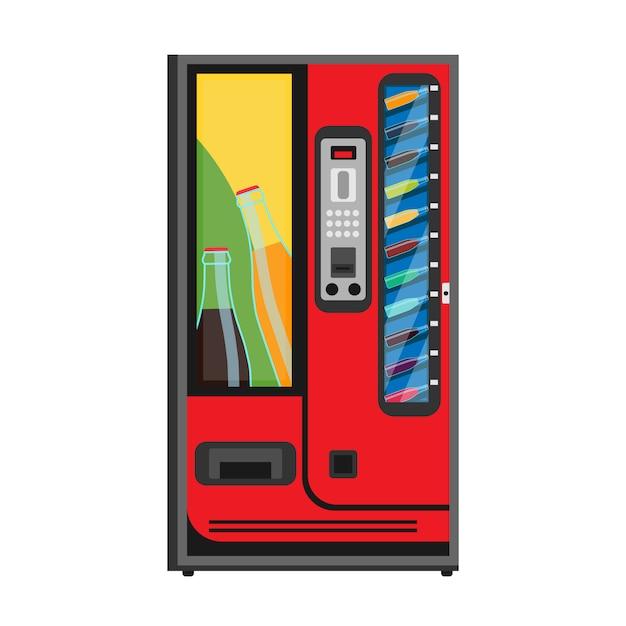 Máquina de venda automática de refrigerante ícone plana. bebida bebida automática comprar garrafa fria. Vetor Premium