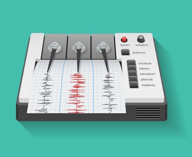 Máquina sismográfica com gráfico de atividade sísmica e terremoto. sismômetro de instrumento, gráfico de tecnologia, ilustração vetorial Vetor grátis