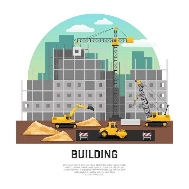 Maquinaria de construção civil plana Vetor grátis