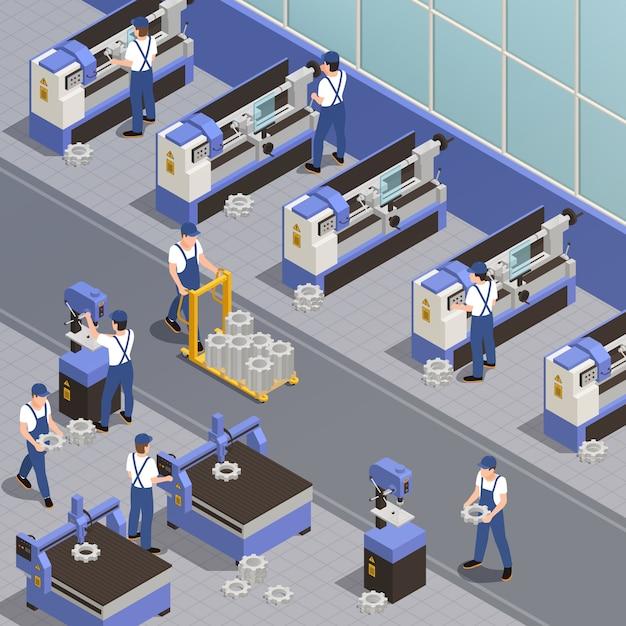 Maquinaria industrial com símbolos de equipamento de planta isométrica Vetor grátis
