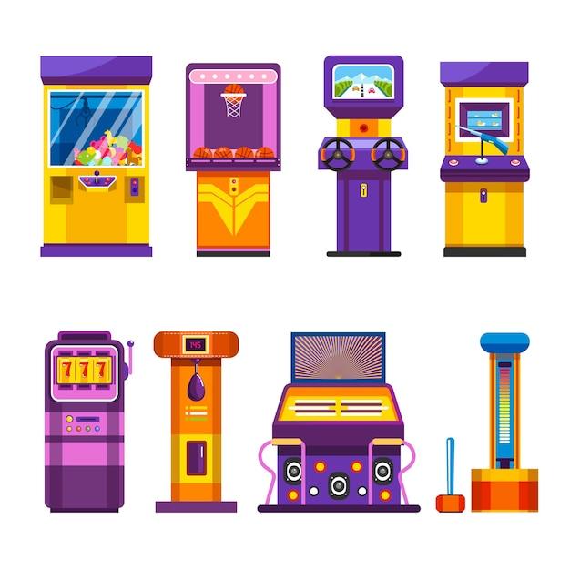Máquinas de jogos retrô com joysticks e telas grandes Vetor Premium