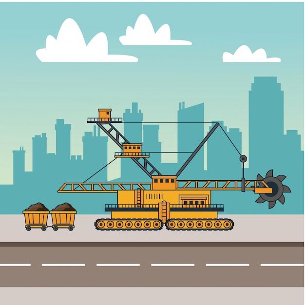 Máquinas de mineração e carrinhos de carroça Vetor Premium