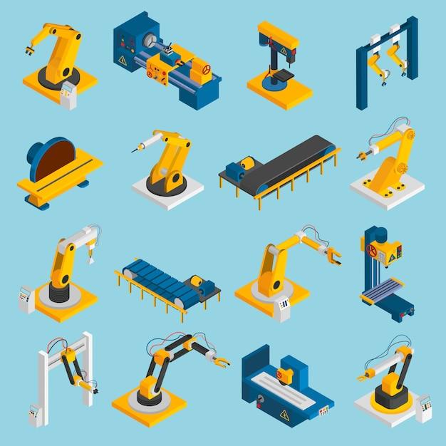 Máquinas de robôs isométricos Vetor grátis