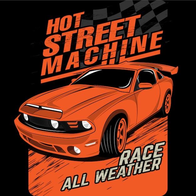 Máquinas de rua quente, ilustrações de carros de vetor Vetor Premium