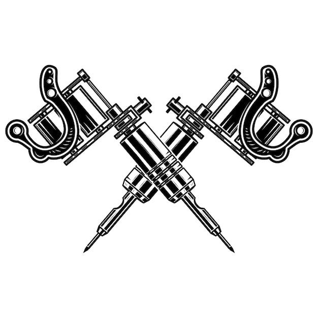 Máquinas de tatuagem cruzadas em fundo branco. elemento para cartaz, emblema, sinal, crachá. ilustração Vetor Premium
