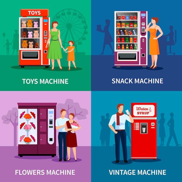 Máquinas de venda automática coloridas elegantes com água de lanches de flores de brinquedos e xarope isolado ilustração vetorial Vetor Premium