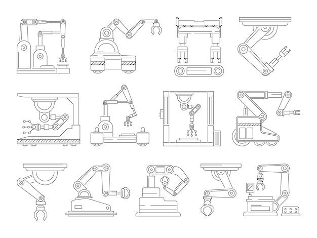 Máquinas robóticas para produção. conjunto de imagens de linha mono. mão industrial mecânica de máquina, ilustração de fabricação de tecnologia técnica linear Vetor Premium