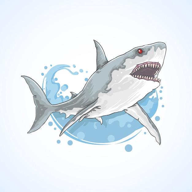 Mar de tubarão peixe selvagem Vetor Premium