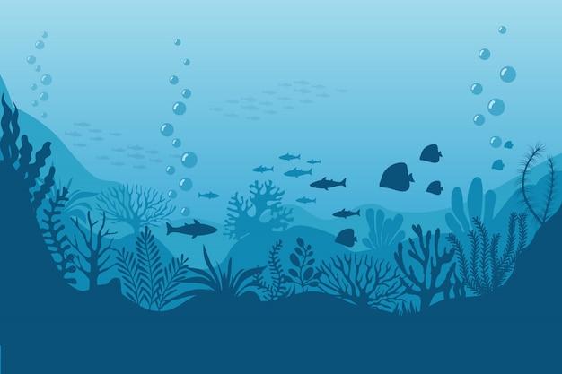 Mar debaixo d'água. fundo do oceano com algas. cena marinha Vetor Premium