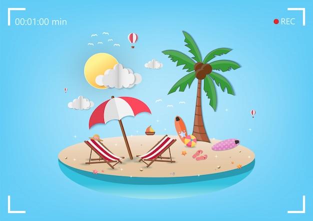 Mar no horário de verão Vetor Premium